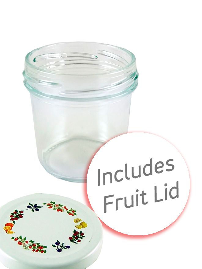 Jam Jars Round Glass Bonta 120ml Fruit Lid