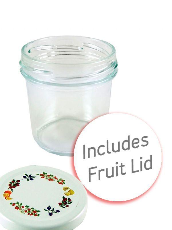 Jam Jars Round Glass Bonta 120ml Fruit Lid + Labels x35 1