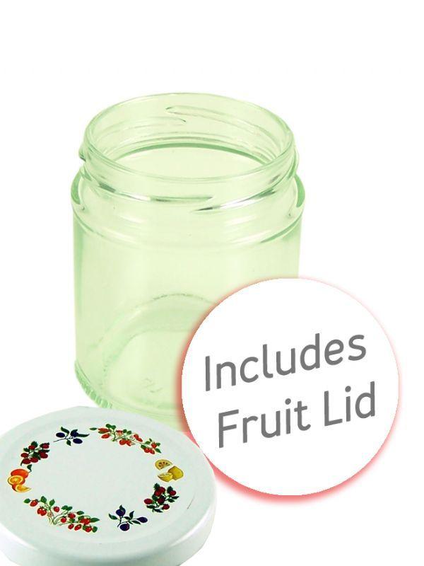 Jam Jars Round Glass 190ml Fruit Lid 1