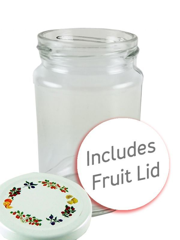 Jam Jars Round Glass 290ml Fruit Lids + Labels x32 1