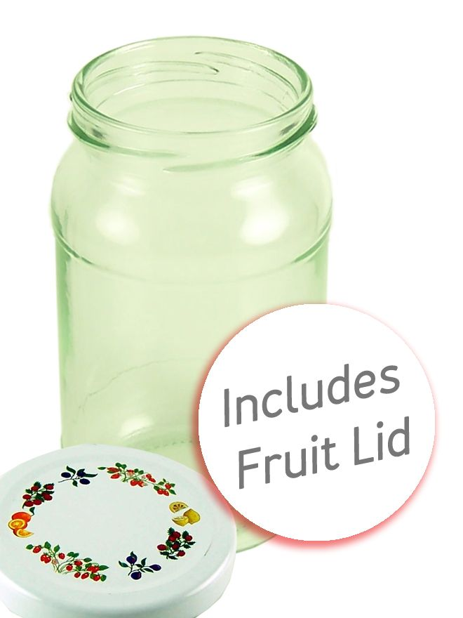 Jam Jars Round Glass 454g Fruit Lids x 28