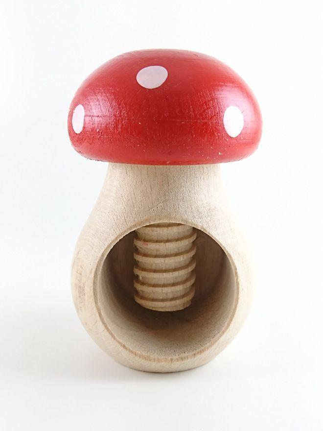 Wooden Toadstool Nutcracker Red