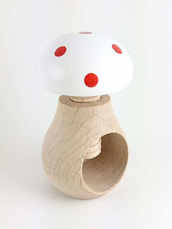 Wooden Toadstool Nutcracker White