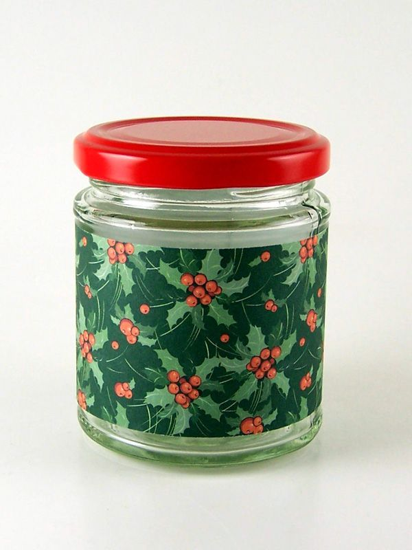 Jar Wraps - Holly Berries Green
