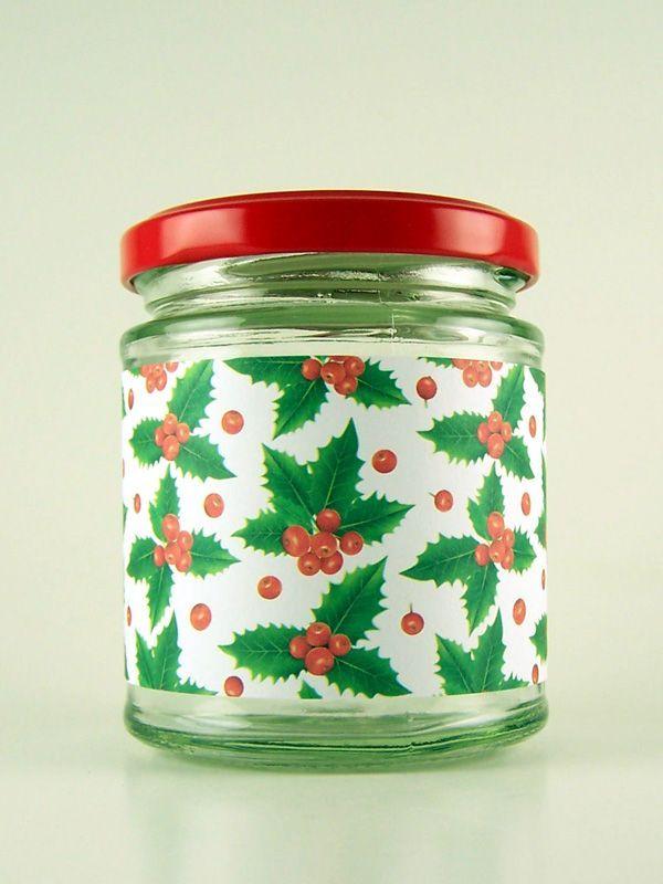 Jar Wraps - Holly Berries White